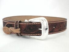 Tony Lama Western Belt Hand Tooled Brown Leather Floral Womens sz 32 $59