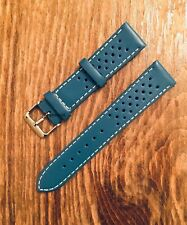 HQ Leather 18mm Olympic Themed, Perforated Blue Strap ,Omega,Rolex,Tudor,Seiko