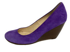 Cole Haan women's wedge heel shoes leather suede purple slip on size 6B