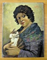 """Orig Vintage Gypsy and Cat Oil Painting on Canvas Signed by R. Vigni 11"""" x 14"""""""