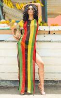 Rihanna Work Rasta womens Dress Reggae Striped red green yellow black stripes