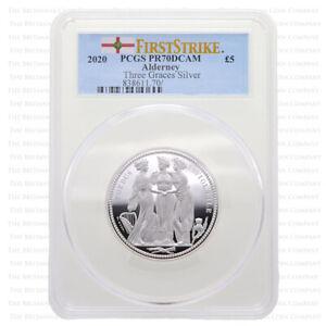 2020 Alderney 'The Three Graces' 2oz Silver Proof Five Pounds : PCGS PR70 Graded