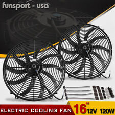 2x 16inch Push Pull Electric Cooling Fan Hot Rod Engine Radiator Kit 3000cfm 12V