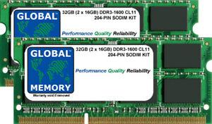 32GB (2x16GB) DDR3 1600MHz PC3-12800 204-PIN SODIMM MEMORY RAM KIT FOR LAPTOPS