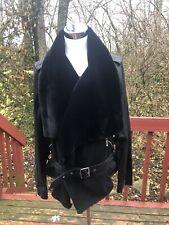 NEW $600 BCBG MAXAZRIA Size L Black Soft Lamb Real LEATHER Moto JACKET With Fur