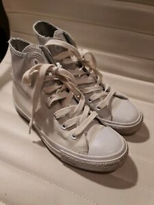 CONVERSE Chuck Taylor All Star Sneakers Womens Size 7 White Patent Leather HiTop