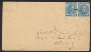 Texas Confederate States cover # 6 pair Red Houston paid 10 cents TX Provisional