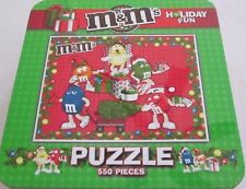 """M & M's Candy """"Holiday Fun""""  550  Pieces Puzzle In Collectible Tin ~GC"""
