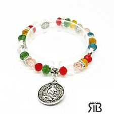 Evil Protection Saint St Benedict Medal Stretchy Women's St Benito Bracelet