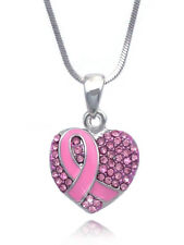 Breast Cancer Awareness Pink Ribbon Crystal Pave Heart Necklace Gift Box