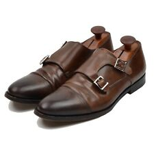 Santoni Schuhe Shoes Gr 8.5 Double Monk Braun Brown Leder Leather Made in Italy