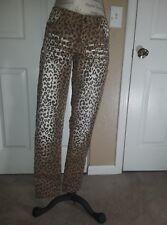 Almost Famous Womens Jeans Animal Leopard Cheetah Slim Skinny Brown Denim Sz 7