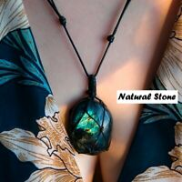 Labradorite Wrap braid Energy Necklace Natural Stone Pendant for men women
