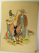 1920s SIGNED NAUDY (RENAUDIN) HAND COLORED  LITHOGRAPH PRINT -BOURBONNAIS FRANCE