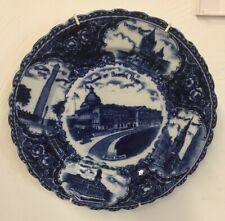 Blue Souvenir Plate Boston Mass State House/Faneuil Hall/Made in England