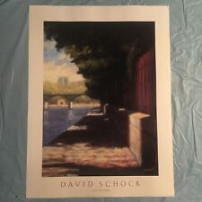 1991 vintage DAVID SCHOCK art poster print--PARIS WALKWAY--litho USA--24X32--NOS