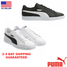 PUMA Men's Smash Suede Leather Shoe Sports Athletic White & Black Sneaker