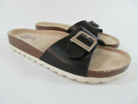 Skechers Crunchy Memory Foam Organic Slide Sandals Black Women's Size 7