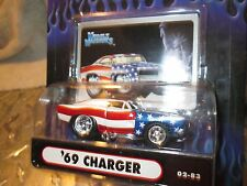 1 Muscle Machine '69 CHARGER Red White blue hood scoop  funline 1:64 MAISTO
