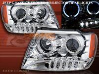 99-04 JEEP GRAND CHEROKEE TWIN HALO LED PROJECTOR HEADLIGHTS CHROME