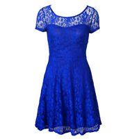 Summer Women Short Sleeve Lace Floral Dress Formal Wedding Evening Party Dresses