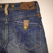 VIGOSS STUDIOS Women's Jeans w/ Leather Patches Corduroy Trim Waist Size 25 USA