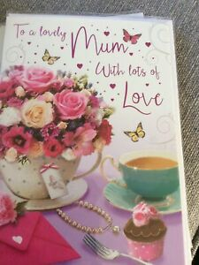 To A Wonderful Mum On Your Birthday. Large Pretty Design Card. Lovely Words.