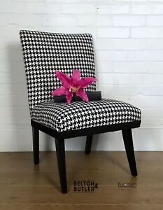 Padded And Upholstered Hand Painted Black & White Houndstooth Accent Chair