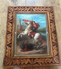 Orthodox Icon, Hand Made Carving Wood Both Side Saint George size 19�m x 22 cm