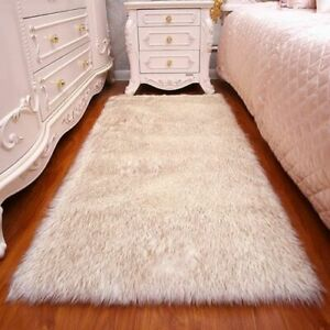 Solid Carpet Fluffy Mat Pad Rectangle Anti-Slip Chair Sofa Cover Plain Area Rugs