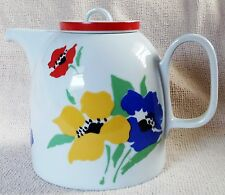 Block Anemone Tea Pot~Red, Blue & Yellow Flowers with Green Leaves
