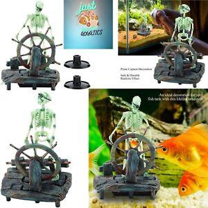 Aquarium Pirate Captain Skeleton Air Decoration Fish Tank Landscape Aqua