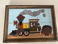 "RARE Ceramic Train Tile Hand Painted Wall Art 20""x 15"" Used HEAVY!"