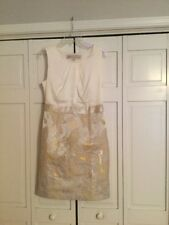 Womens Lela Rose For The Loft Dress Size 8 Sleeveless Cream With Metallic NWT