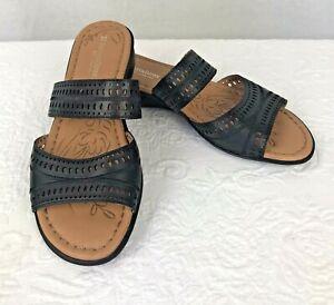 Naturalizer N5 Comfort Black Leather Slip On Sandals Size 9W Jenaya New NWOB