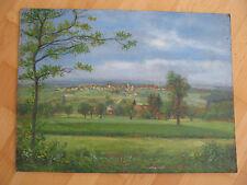 K.Saupe Oel Gemälde auf Holz Stadtansicht Waldweg Oelbild 57 cm x 43 cm