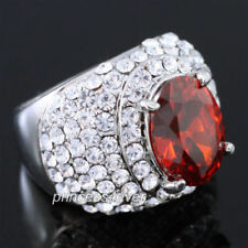 Silver Plated Simulated Ruby Fashion Rings