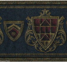 Royalty Coat of Arms Dark Blue Red Shield Crest Gold Scroll Wall paper Border