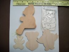 Lot of 5 Unfinished  Wood BEAR pieces  TO DECORATE Paint Decoupage Craft