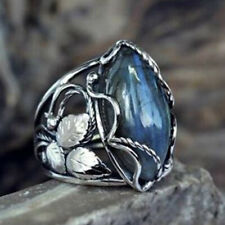 925 Silver Rings Women Jewelry Marquise Blue Sapphire Wedding Ring Size 6-10