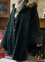 Suede Long Cape Coat Plus Size FitsUk 22/26/30/32  Green Leather Lambs Designer