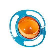 Non Spill Feeding Toddler Gyro Bowl 360 Rotating Baby Avoid Food Spilling Blue