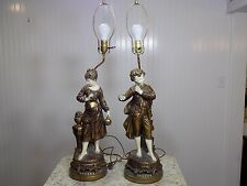 Stunning Vintage Pair of Figural Man Woman Gold and White Francaise Table Lamps