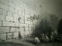 C1850 Steel Engraving print by WH Bartlett Jews Place of Wailing JERUSALEM