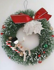 Vtg Bottle Brush Christmas Wreath Snowman Candy Cane Chenille Mercury Glass Bead