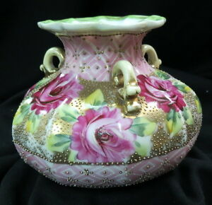 old unmarked NIPPON 3 handle vase / hand painted red / pink roses + moriagi dots