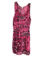 Lucky Brand Women's Pink Black Abstract Print Sleeveless Dress Size M Boho 17