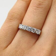 J. Esposito 925 Sterling Silver Gold Plated 5-Stone C Z Ring Size 5.5