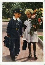 1959 Girl Boy Going to School on Sept 1st  Russian postcard