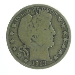 1913 US Mint Silver Barber Half Dollar Twenty Five Cent Coin